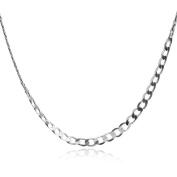 Sterling Silver Flat Curb Chain Necklace 50cm