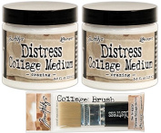 Ranger - Tim Holtz Crazing Collage Medium - Two Full-Size Jars with Medium Size Brush Bundle