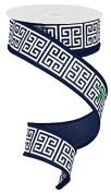 3.8cm X 10 yard Greek Keys Navy Blue White wired ribbon