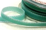 Aqua 9mm Velvet Saddle Stitch Ribbon by Bertie's Bows on a 10m Roll