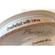 Bertie's Bows 'Crocheted with Love' White Grosgrain 16mm Labels on a 25m Roll