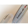 Bertie's Bows 'Crocheted with Love' White Grosgrain 16mm Labels on a 3m Roll