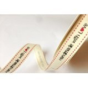 Bertie's Bows 'Handmade with Love' Cream Grosgrain 16mm Labels on a 3m Roll