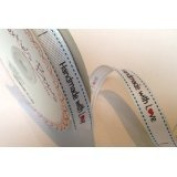 Bertie's Bows 'Handmade with Love' White Grosgrain 16mm Labels on a 3m Roll