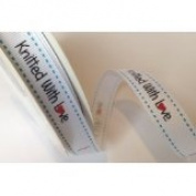 Bertie's Bows 'Knitted with Love' White Grosgrain 16mm Labels on a 3m Roll