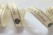 Bertie's Bows 'Made in Scotland' Print With Thistle Detail Ivory Grosgrain Ribbon on a 25m Roll