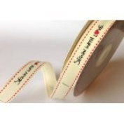 Bertie's Bows 'Sewn with Love' Cream Grosgrain 16mm Labels on a 3m Roll