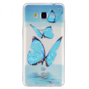 IKASEFU Transparent Clear Rubber Case for Samsung Galaxy Grand Prime G530,Pretty Blue Butterfly Slim Flexible Soft Gel Tpu Case Cover for Samsung Galaxy Grand Prime G530