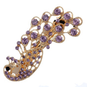 Yazilind Vogue Rhinestone Crystal Small Purple Tube Peacock Headdress Hair Accessories for Women