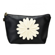 Bestrice Cosmetic Bag Sunflower Trapezoid Portable Handbag/Wrist Bag/Clutch Bag/Cell Phone Bag/ Ladies Purse - Black