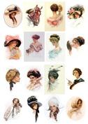Decoupage Paper Pack (10sheets A4 / 20cm x 30cm ) Victorian Ladies FLONZ Vintage Paper