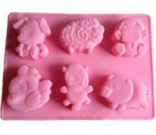 6 Cavities Farm Animal Meeting Silicone Cake Baking Mould Cake Pan Muffin Cups Handmade Soap Moulds Biscuit Chocolate Ice Cube Tray DIY Mould