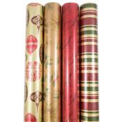 JAM Paper® Gift Wrap Assortments - Premium Wrapping Paper Christmas Design Set - Antique Christmas - 4 Rolls per Pack