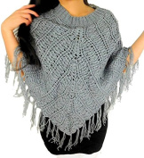 Women's Shawl Grey Fringe Poncho