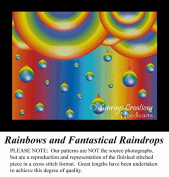 Rainbows and Fantastical Raindrops, Fractal Counted Cross Stitch Pattern
