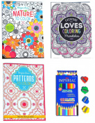 19 Piece Set 3 Book Adult Colouring Book Mandala Patterns Nature with 12 Piece Colouring Coloured Pencil Set with 4 Pack Sharpener Set