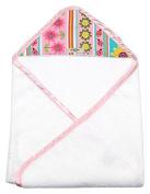 My Blankee Newborn Baby Girl Hooded, Pink Daisy Stripes