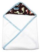 My Blankee Newborn Hooded Baby Boy Towel, Brown Road