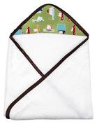My Blankee Newborn Hooded Baby Boy Towel, Lime Green Road Trip