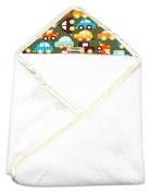 My Blankee Newborn Hooded Baby Boy Towel, Lime Cars