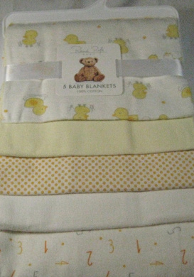 Rene Rolfe 5 Pk.Soft Flannel Baby Boys Receiving Blankets 100% Cotton Blues and Beige