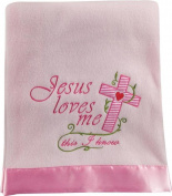 Jesus Loves Me This I Know Pink 80cm x 100cm Fleece Blanket