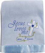 Jesus Loves Me This I Know Blue 80cm x 100cm Fleece Blanket