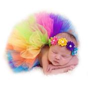 JISEN Baby Newborn Photography Prop Baby Girl Infant Lovely Costume TuTu Dress with Flower Headband 0-3 Months