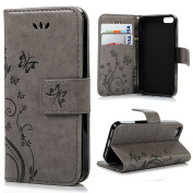 Mother's day gifts,Gifts for mom,iPhone 6Plus Case, iPhone 6plus 14cm Case, easygogo® Premium Vintage Emboss Butterfly Leather Wallet Pouch Case with Wrist Strap for iPhone 5 5S
