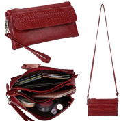 [Mother's Day Gifts for Women] Women's Large Capacity Leather Wallet Purse Smartphone Wristlet Clutch with Shoulder Strap