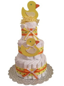 Duck Themed Nappy Cake - Yellow Duck Nappy Cake, Baby shower centrepiece, Rubber Ducky Nappy Cake