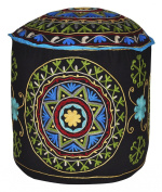 Elegant Handmade Suzani Embroidery Design Ottoman Cover For Room Decor 18 X 46cm X 36cm