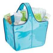 mDesign Baby Nursery Tote Bag for Nappies, Wipes, Powder - Vegan Patent Leather, Medium, Teal/Navy