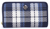 Tory Burch Robinson Woven Plaid Accordian Wallet