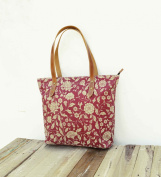 Tote bag laminated cotton Oilcloth Cotton prnited Dark Red Marsala Floral print kalamkari, folk leather trims zip closure everyday bag