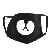 Polytree Unisex Black Cute Bear Cotton Mouth Face Mask Respirator for Cycling Anti-Dust