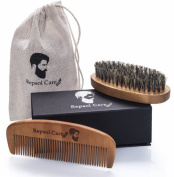 Beard Brush & beard Comb Kit - Handmade Organic Solid Wood, No Snag & Anti Static, 100% Natural Boar Bristle Soft Pocket hair Brush and Comb - for Head Hair, Men Beard & Moustache by Repsol Care