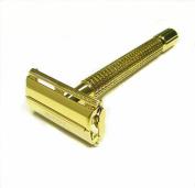 Double Edge Safety Razor-Elegant Gold Heavy Long Handle By Edward London & Co.