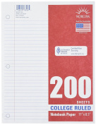 Norcom College Ruled Filler Paper, 28cm x 22cm , 200 Sheets, White