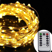 Dreamworth 12m 240 LED's Silver Wire Lights,Remote Battery Operated LED String Lights 8 lighting Mode Waterproof with 13 Key Remote Control For Christmas Holiday, Wedding, Parties