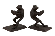 Pair of Reading Frogs Rust Brown Cast Iron Bookends