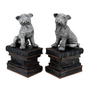Wrinkle Dogs On Books Antique Silver Finish Decorative Bookends