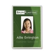 Baumgartens Vertical ID Card Holder - 8.6cm x 5.3cm - Plastic - 25 / Pack - Clear