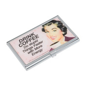 DRINK COFFEE Do stupid Things Faster with More Energy Business Card Case Credit Card Holder