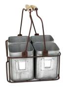 Metal Four Tin Organiser with Handles