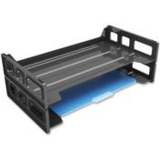 Deflect-o Single Self Stacking Legal Tray - Desktop, Shelf - Plastic - Black