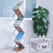 Portable Pop Up 5 Wood Pocket Magazine Brochure Literature Catelog Holder Rack Stand Tradeshow Display w/ Aluminium Case