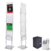 Portable Pop Up 4 Clear Pocket Magazine Brochure Literature Catelog Holder Rack Stand Tradeshow Display w/ Carrying Bag