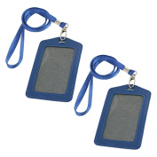 Uxcell Faux Leather Badge ID Card Vertical Holders, 2-Piece, Blue