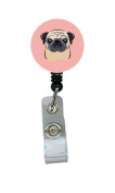 Checkerboard Pink Fawn Pug Retractable Badge Reel BB1262BR